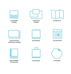 Icons of various print media vector image vector image