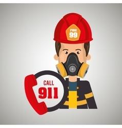 man firefighter mask helmet vector image