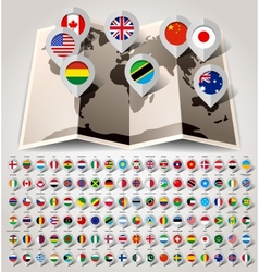Map world with flags big paper set vector
