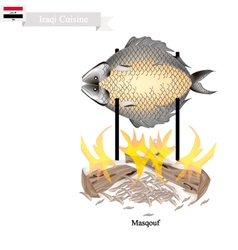Masqouf or delicious iraqi grilling carp fish vector