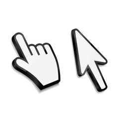 Mouse hand and arrow cursors vector