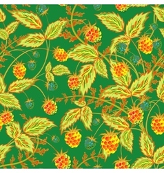Raspberries seamless pattern with rel orange vector image