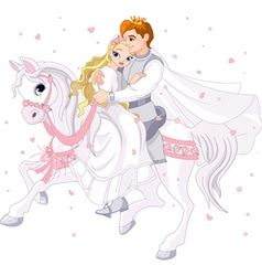 Romantic couple on horse vector image vector image