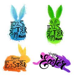 Set of watercolor bunnies vector