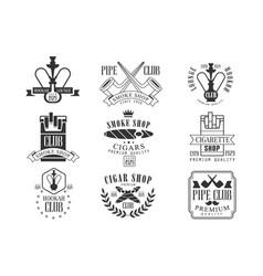 Smoke shop vintage black and white emblems vector