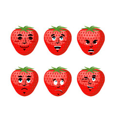 Strawberry emotions set red berry evil and good vector