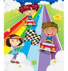 Three kids playing car racing vector image