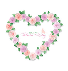 Valentine s day card floral heart isolated on vector