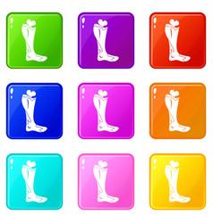 Zombie leg icons 9 set vector