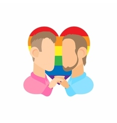 Two men gay icon cartoon style vector