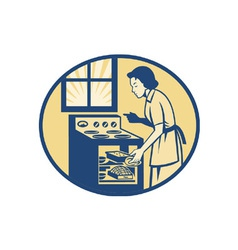Housewife baker baking in oven stove retro vector