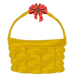 Braided basket with bow vector