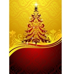 Ornate red Christmas tree vector image