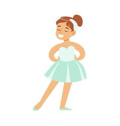 Little girl in swans lake costume dancing ballet vector