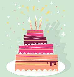 birthday sweet cake card vector image
