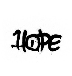 Graffiti hope word sprayed with leak in black vector