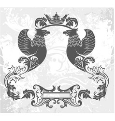 Decorative frame with crown and griffin vector
