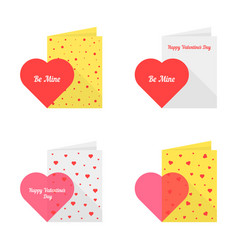 set of happy valentine day postcard vector image