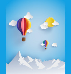 origami made colorful hot air balloon flying vector image