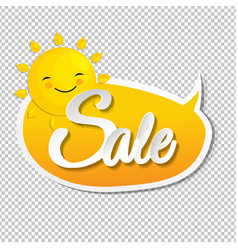 Summer sale speech bubble with sun vector