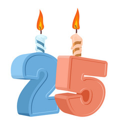 25 years birthday number with festive candle for vector