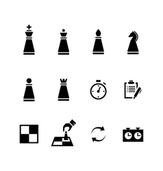 Chess pieces black icons set vector