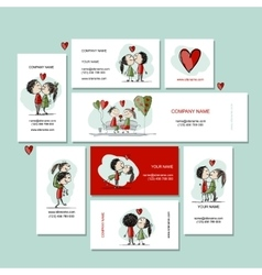 Couple in love kissing cards for your design vector
