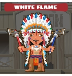 Cartoon character in wild west - white flame vector
