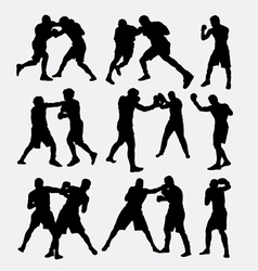 Boxing fighting silhouette vector