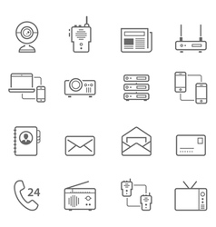 Lines icon set - communication devices vector