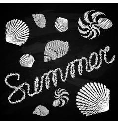 Set of marine figures on the chalkboard summer vector