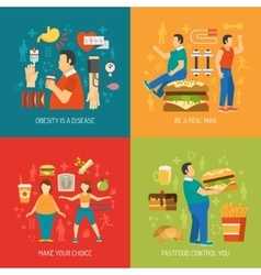 Obesity concept flat vector