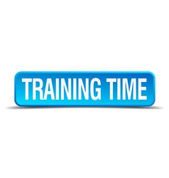 Training time blue 3d realistic square isolated vector