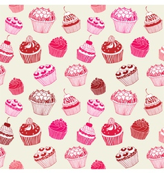 Cupcakes pattern birthday card vector