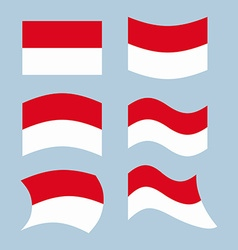 Indonesian flag set of flags of indonesian vector