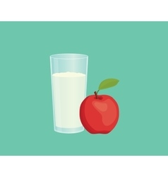 Apple smoothie with fruit and a glass of the vector