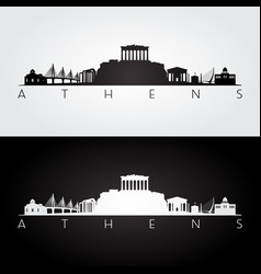 athens skyline and landmarks silhouette vector image