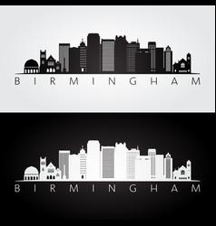 birmingham usa skyline and landmarks silhouette vector image