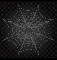 Black spider and web cobweb vector