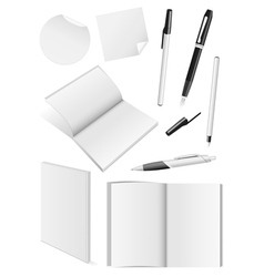Blank writing tools and book mock-ups vector image