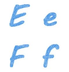 Blue sketch font set - letters e f vector