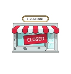 Closed shop building store font view with vector image vector image