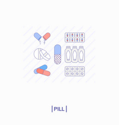 Collection of different pills vector