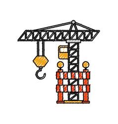 Construction tower crane barricade caution vector