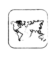 Contour map earth planet icon vector