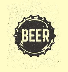Craft beer text emblem on bottle cap vector