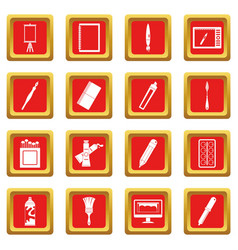 Design and drawing tools icons set red vector