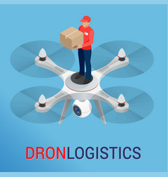 drone logistics network flat vector image vector image