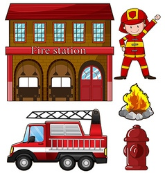 Fireman and fire station vector