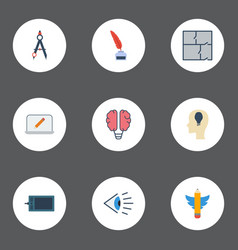 flat icons bulb scheme idea and other vector image vector image